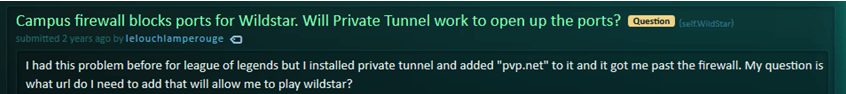 private tunnel reddit user issue