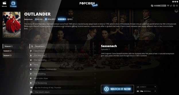 How to Watch Outlander on popcorn time