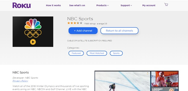 how to watch winter Olympics on Roku