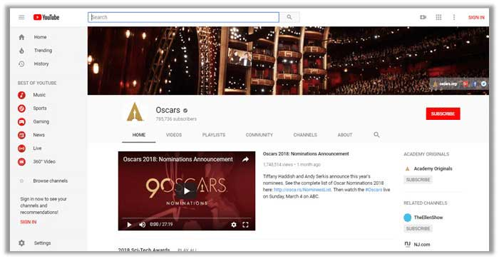 How to Watch the Oscars 2018 on youtube