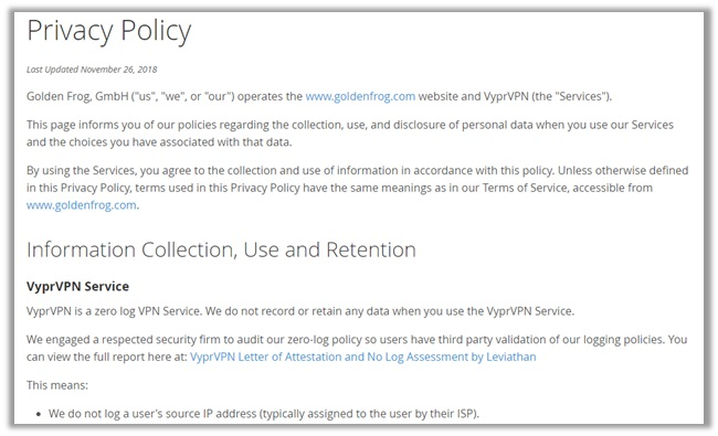 VyprVPN Logging Policy