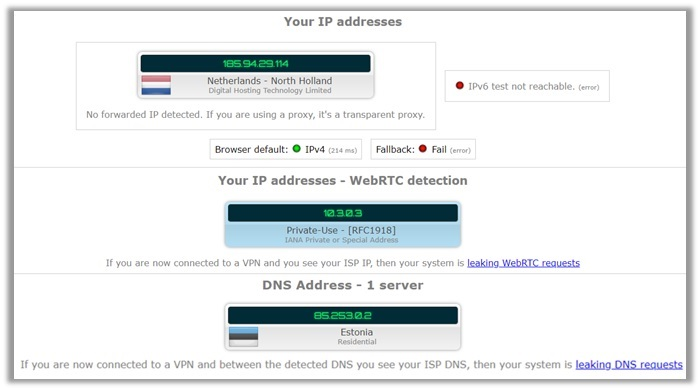 ibVPN Leak Test