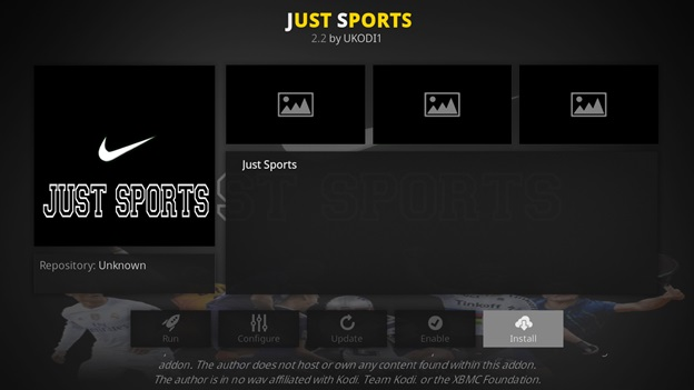 Just Sports kodi addon