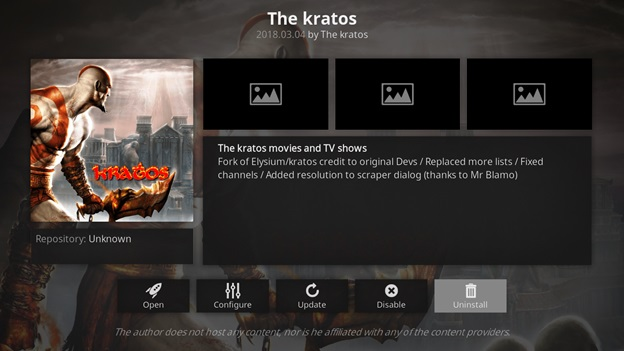 The Kratos kodi addon