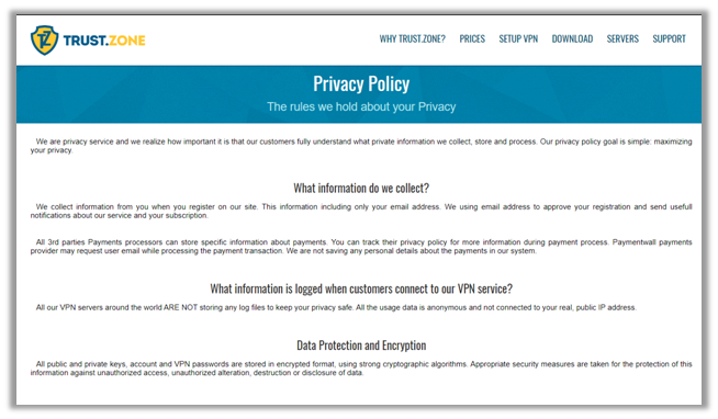 TrustZone Privacy Policy