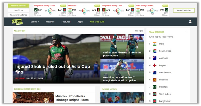 asia cup final 2018 on Cricingif