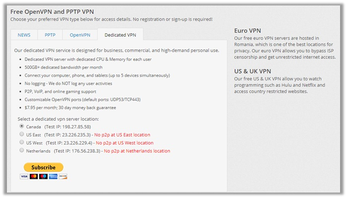VPNBook Dedicated IP Pricing
