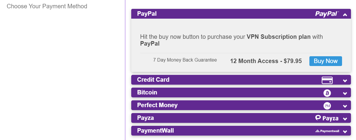 vpnsecure.me Payment methods