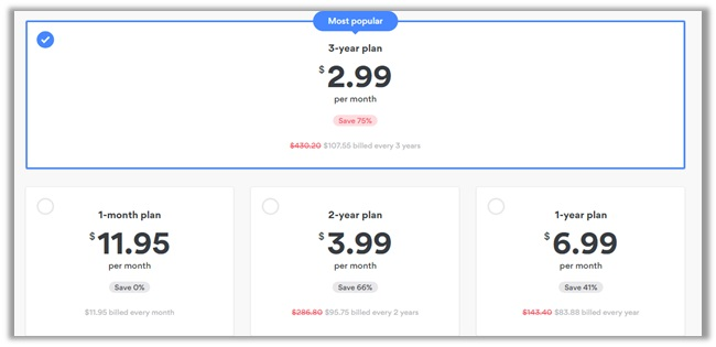 Subscriptions Offered by NordVPN