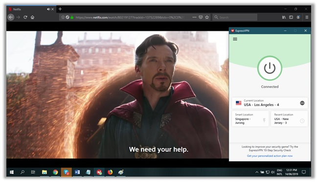 Unblocking Avengers Infinity War via ExpressVPN Los Angeles 4 Server