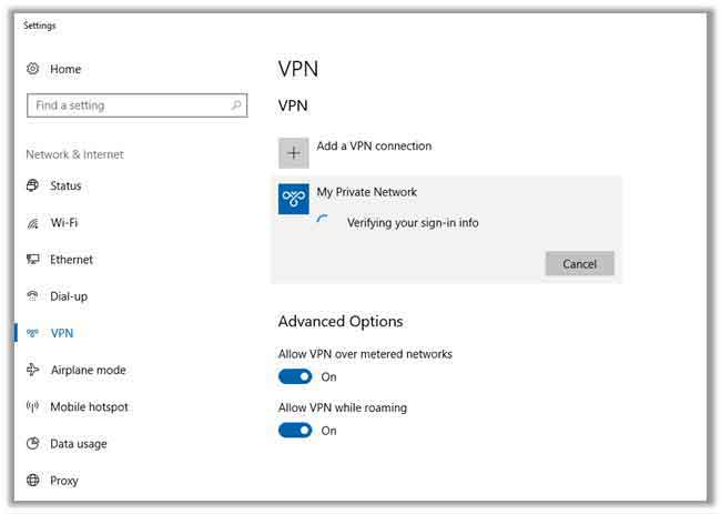 using the VPN connection via PPTP method in windows