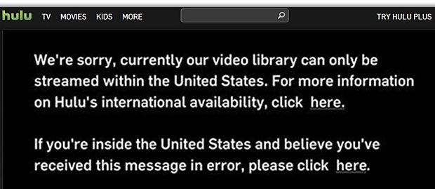 Hulu Only Accessible in US Error