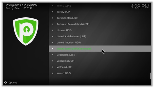 PureVPN Kodi Add-on Screenshot