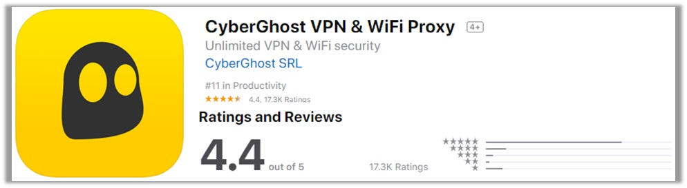 CyberGhost Apple Store Rating