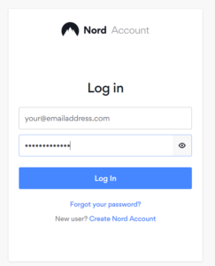 log in to your nordvpn account