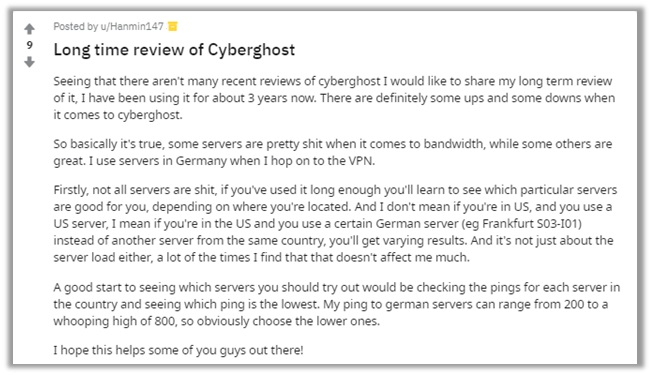 CyberGhost Reddit Review